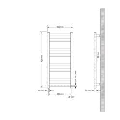 Badheizkörper Sahara 400 x 700 mm Chrom gerade + Seitenanschluss