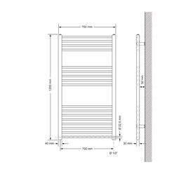 Badheizkörper Elektrisch 750x1200 mm Chrome, gerade, 900W