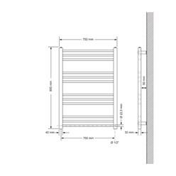 Badheizkörper Elektrisch 750x800 mm Chrome, gerade, 300W