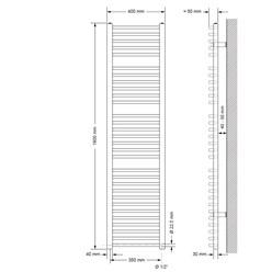 Badheizkörper Sahara 400 x 1800 mm Weiß gebogen mit Seitenanschluss