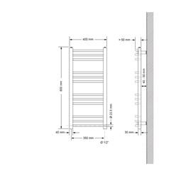Badheizkörper Sahara 400x800 mm chrom mit Seitenanschluss
