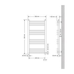 Badheizkörper Sahara 500x800 mm Chrome gebogen mit Seitenanschluss