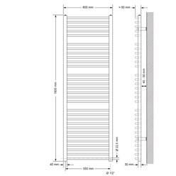 Badheizkörper Sahara anthrazit, 600x1800 mm, gebogen, mit Seitenanschluss