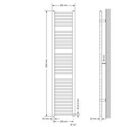 Badheizkörper Sahara 300x1800 mm Weiß gerade mit Seitenanschluss