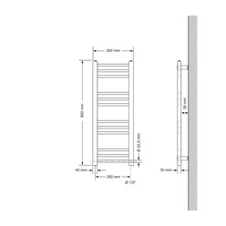 Badheizkörper Sahara 300x800 mm Anthrazit gerade mit Seitenanschluss