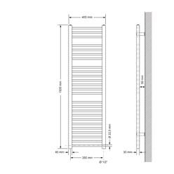 Badheizkörper Sahara 400 x 1500 mm Anthrazit gerade mit Seitenanschluss