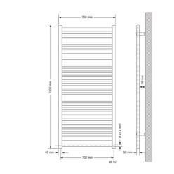 Badheizkörper Sahara 750x1500 mm weiß mit Seitenanschluss