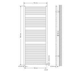 Badheizkörper Sahara 750 x 1800 mm Anthrazit gerade mit Seitenanschluss