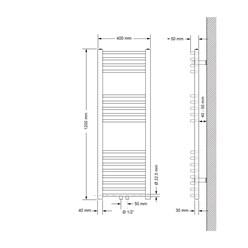 Badheizkörper 400x1200 mm Weiß, gebogen, Universale Anschlussgarnitur