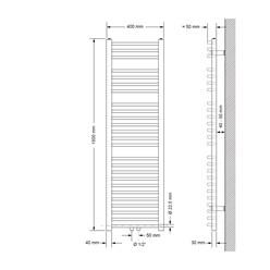 Badheizkörper 400x1500 mm Weiß, gebogen, Boden Anschlussgarnitur