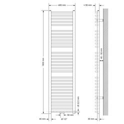 Badheizkörper 400x1800 mm Weiß, gebogen, Boden Anschlussgarnitur