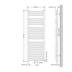 Badheizkörper 500x1500 mm Weiß, gebogen, Boden Anschlussgarnitur