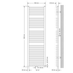 Badheizkörper 500x1800 mm Weiß, gebogen, Boden Anschlussgarnitur