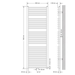 Badheizkörper 600x1800 mm Weiß, gebogen, Boden Anschlussgarnitur