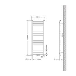 Badheizkörper 300x800 mm Weiß, gerade, Boden Anschlussgarnitur