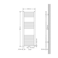 Badheizkörper 400x1200 mm Weiß, gebogen, Boden Anschlussgarnitur