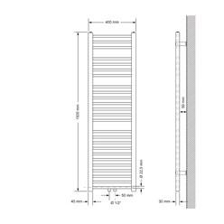 Badheizkörper Sahara 400 x 1500 mm Anthrazit gerade mit Mittelanschluss
