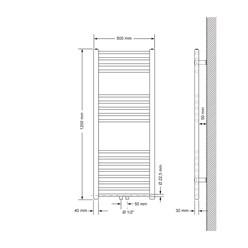 Badheizkörper 500x1200 mm Weiß, gerade, Boden Anschlussgarnitur