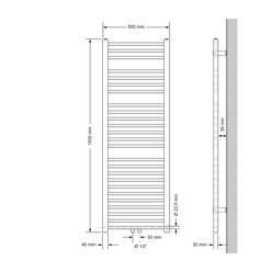 Badheizkörper 500x1500 mm Anthrazit, gerade, Boden Anschlussgarnitur