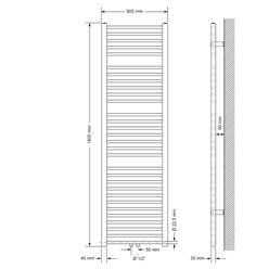 Badheizkörper 500x1800 mm Chrome, gerade, Boden Anschlussgarnitur