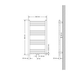 Badheizkörper 500x800 mm Weiß, gerade, Boden Anschlussgarnitur
