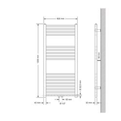 Badheizkörper 600x1200 mm Chrome, gerade, Boden Anschlussgarnitur