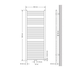 Badheizkörper 600x1500 mm Anthrazit, gerade, Boden Anschlussgarnitur