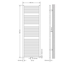 Badheizkörper 600x1800 mm Weiß, gerade, Boden Anschlussgarnitur