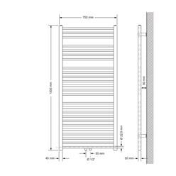 """Badheizkörper """"Sahara"""" gebogen mit Mittelanschlus Weiß 750 x 1500 mm"""