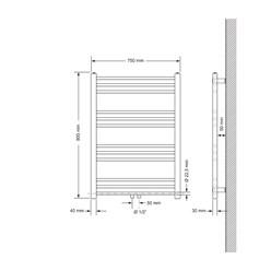 Badheizkörper Sahara 750x800 mm anthrazit mit Seitenanschluss