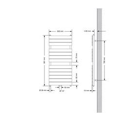 Badheizkörper Steam Design mit Mittelanschluss 500x991 mm Anthrazit Einlagig