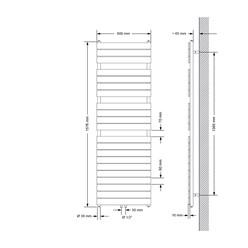 Badheizkörper Steam Design mit Mittelanschluss 600x1576 mm Anthrazit Einlagig