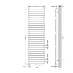 Badheizkörper Steam Design mit Mittelanschluss 600x1771 mm Anthrazit Einlagig