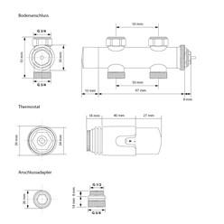 Badheizkörper 400x800 mm Weiß, gerade, Boden Anschlussgarnitur