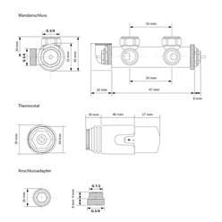 Badheizkörper 400x800 mm Weiß, gerade, Wand Anschlussgarnitur