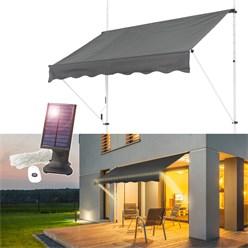 ML-Design Klemmmarkise grau, 150x120 cm, mit LED Solar Lichterkette 7m