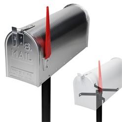 ML-Design US Mailbox mit schwenkbarer Fahne und Standfuß, silber, aus Aluminium