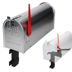 ML-Design US Mailbox mit aufrichtbarer Fahne und Wandhalterung, silber, aus Aluminium