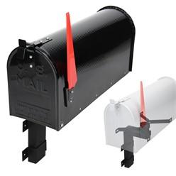 ML-Design US Mailbox mit aufrichtbarer Fahne und Wandhalterung, schwarz, aus Aluminium