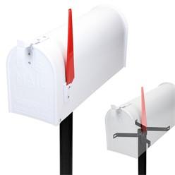 ML-Design US Mailbox mit schwenkbarer Fahne und Standfuß, weiß, aus Aluminium