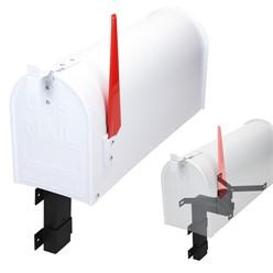 ML-Design US Mailbox mit aufrichtbarer Fahne und Wandhalterung, weiß, aus Aluminium