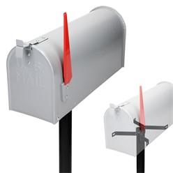 ML-Design US Mailbox mit schwenkbarer Fahne und Standfuß, grau, aus Aluminium