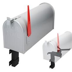 ML-Design US Mailbox mit aufrichtbarer Fahne und Wandhalterung, grau, aus Aluminium