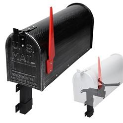 ML-Design US Mailbox mit aufrichtbarer Fahne und Wandhalterung, retro-schwarz, aus Aluminium
