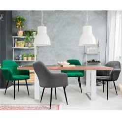 4er Set Esszimmerstuhl, Dunkelgrau/Dunkelgrün, mit Rücken- und Armlehnen