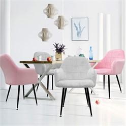 4er Set Esszimmerstuhl, Grau/Rosa, mit Rücken- und Armlehnen