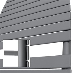 Badheizkörper Steam Design mit Mittelanschluss 500x1511 mm Anthrazit inkl. Anschlussgarnitur mit Thermostat Durchgangsform