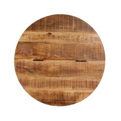 WOMO-DESIGN Couchtisch mit Stauraum, silber, Ø60 cm, aus Mangoholz