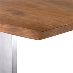 WOMO-DESIGN Couchtisch natur/silber, 120x60 cm, aus Akazienholz mit Metallgestell
