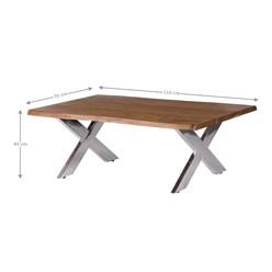 WOMO-DESIGN Couchtisch braun/silber, 110x70 cm, aus Akazienholz mit Metallgestell X-Füße
